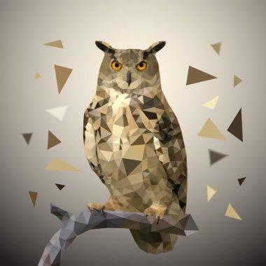 Polygonal eagle owl. Vector illustration