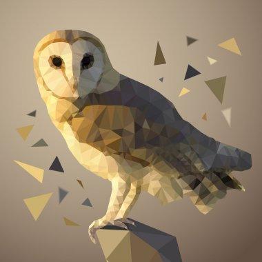 Polygonal owl. Vector illustration