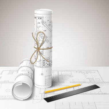 Rolled drafts with a pencil and a ruler. Vector illustration