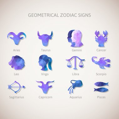 Geometrical zodiac signs. Vector illustration