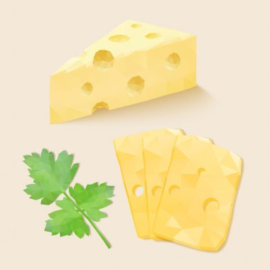 Polygonal cheese. Vector illustration