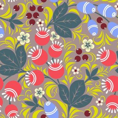 Khokhloma seamless pattern - taiga. Vector illustration