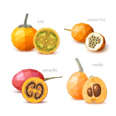 Set of polygonal fruit - tamarillo, lulo, medlar, passion fruit.
