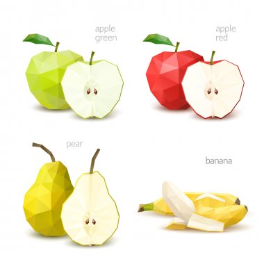 Polygonal fruit - green apple, red apple, pear, banana. Vector i
