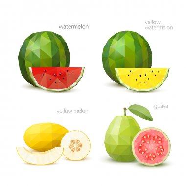 Set of polygonal fruit - watermelon, yellow watermelon, melon, g