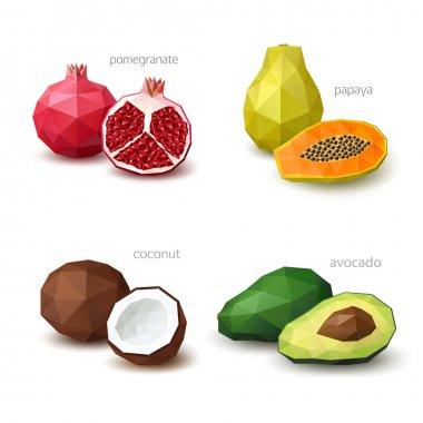 Set of polygonal fruit - pomegranate, papaya, coconut, avocado.