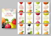 Nástěnný kalendář 2016 - polygonální ovoce a bobule. Vektorové úsporných