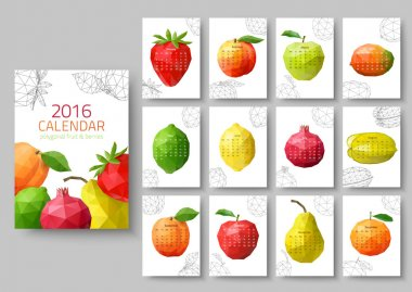 Wall calendar 2016 - polygonal fruit and berries. Vector illustr