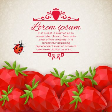 Abstract decorative background with polygonal strawberry. Vector