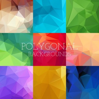 Set of bright geometrical polygonal backgrounds. Vector illustration