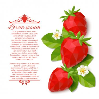 Abstract decorative background with polygonal strawberry. Vector illustration