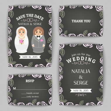 Set of wedding invitations and announcements with nested dolls. Vector illustration
