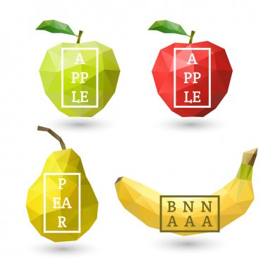 Polygonal fruit - green and red apple, pear, banana with design inscription. Vector illustration