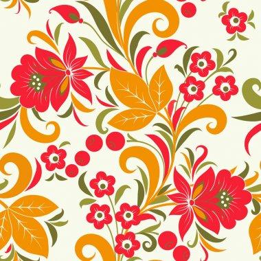 Khokhloma seamless pattern - strawberry. Vector illustration