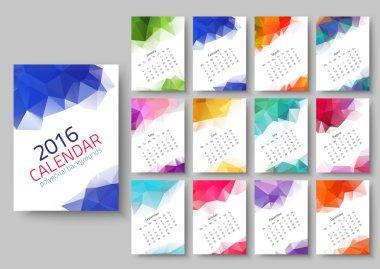 Geometrical calendar of 2016. Vector illustration