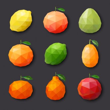 Fruit icons. Vector illustration