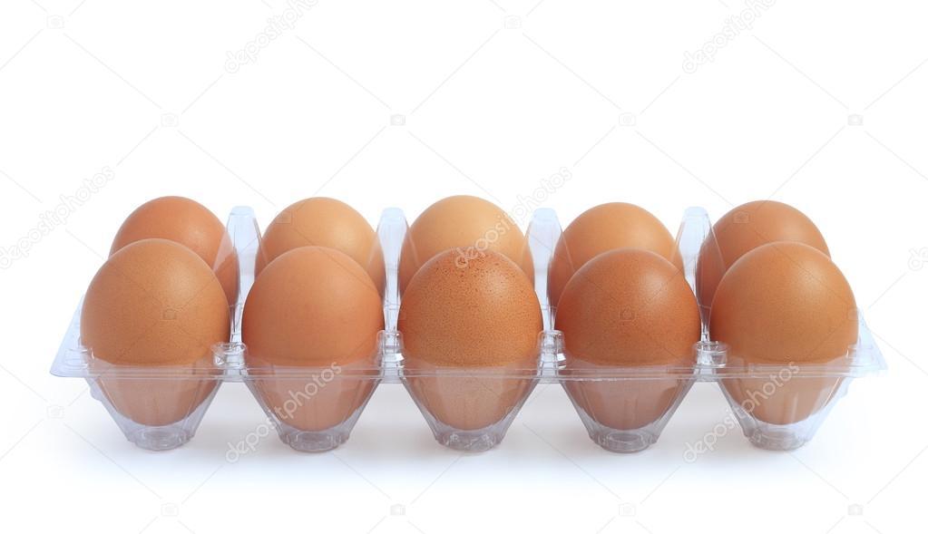 Eggs in plastic package