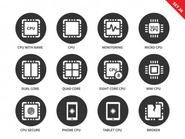Cpu icons on white background.