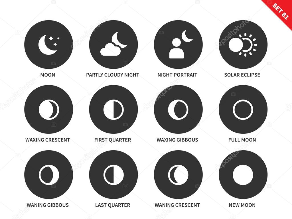Moon icons on white background