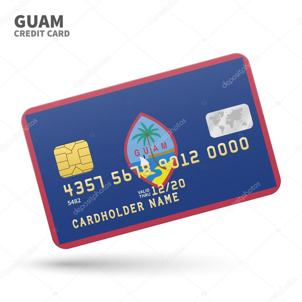 Credit card with Guam flag background for bank, presentations and ...