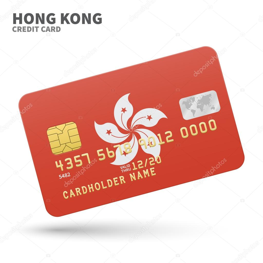 Credit card with hong kong flag background for bank presentations credit card with hong kong flag background for bank presentations and business isolated on reheart Image collections