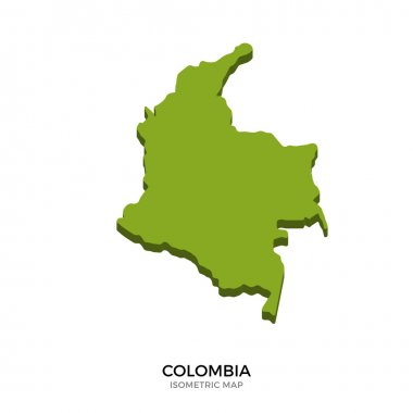 Isometric map of Colombia detailed vector illustration
