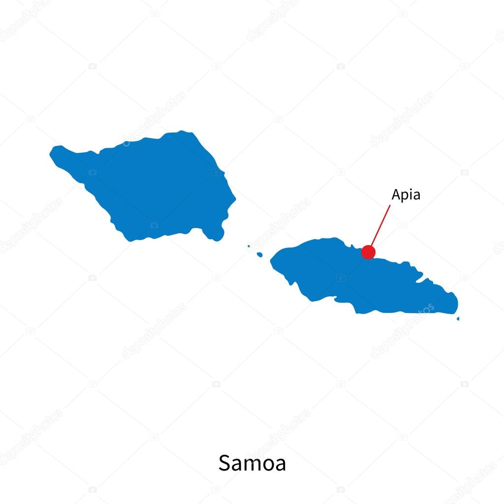 Detailed vector map of Samoa and capital city Apia Stock Vector