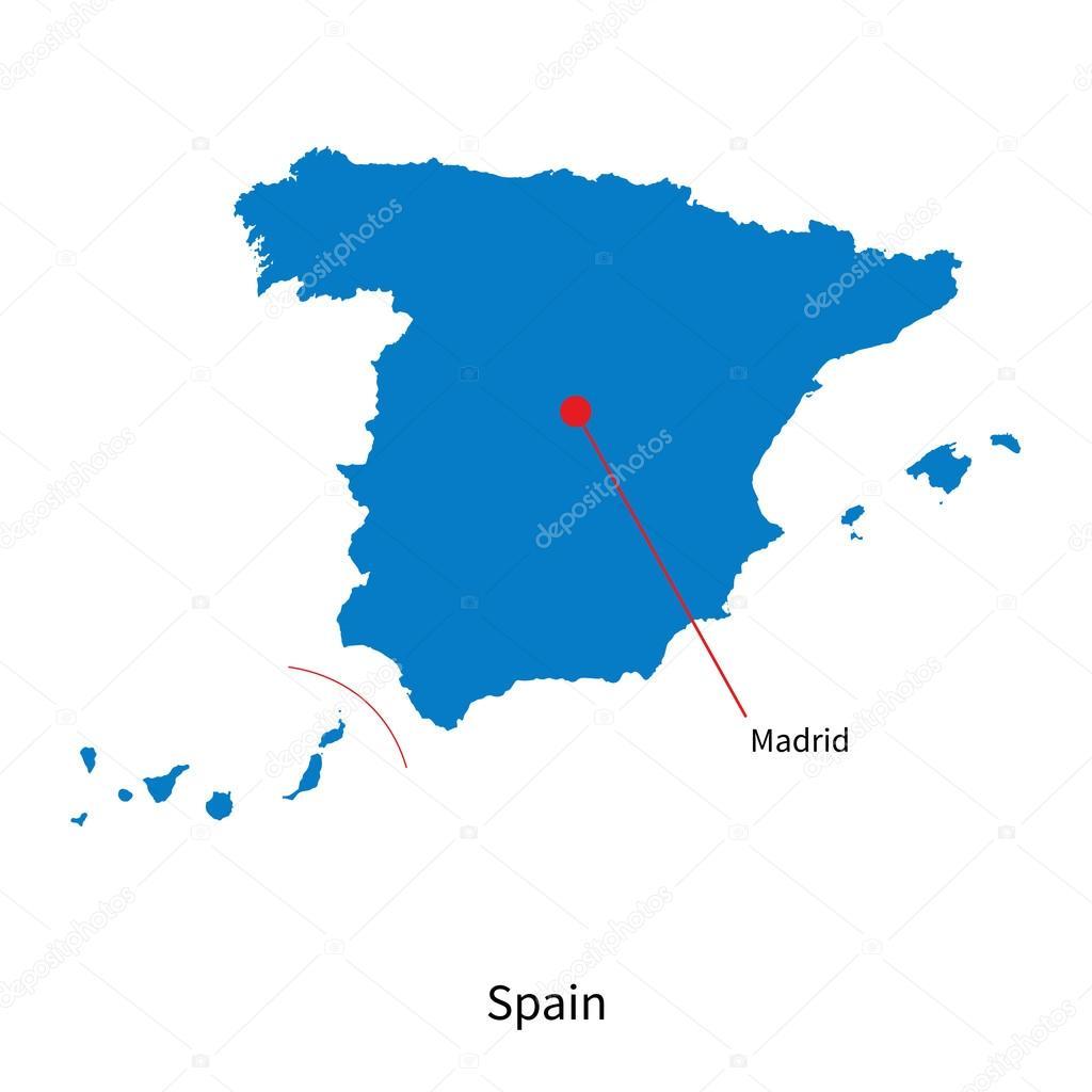 Madrid Capital De España Mapa.Detailed Vector Map Of Spain And Capital City Madrid Stock