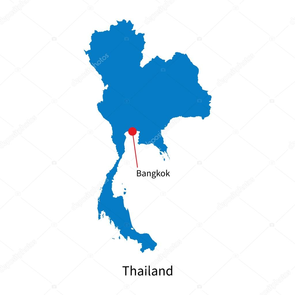 Detailed vector map of Thailand and capital city Bangkok