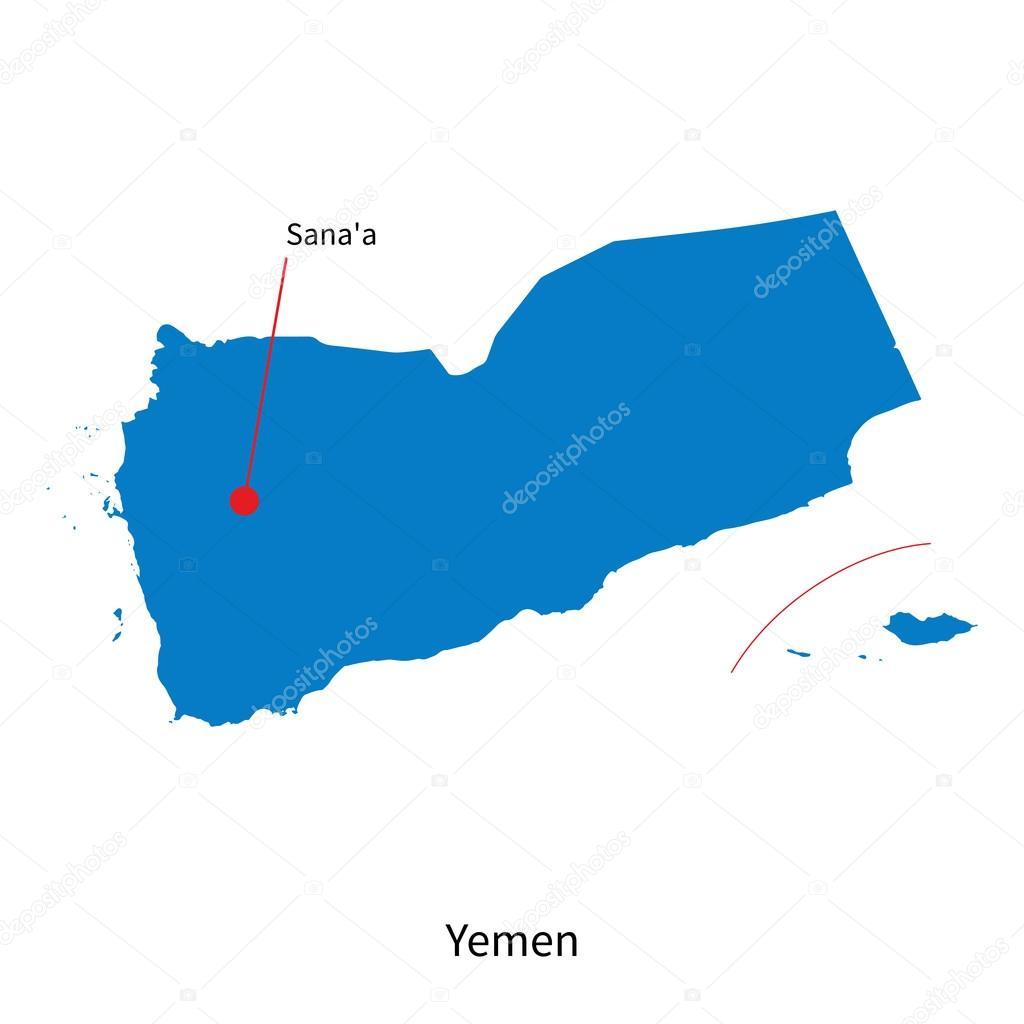 Detailed Vector Map Of Yemen And Capital City Sanaa Stock Vector - Sanaa map