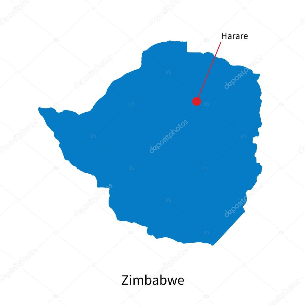 Detailed vector map of Zimbabwe and capital city Harare Stock