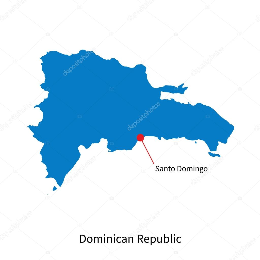 Detailed vector map of Dominican Republic and capital city Santo