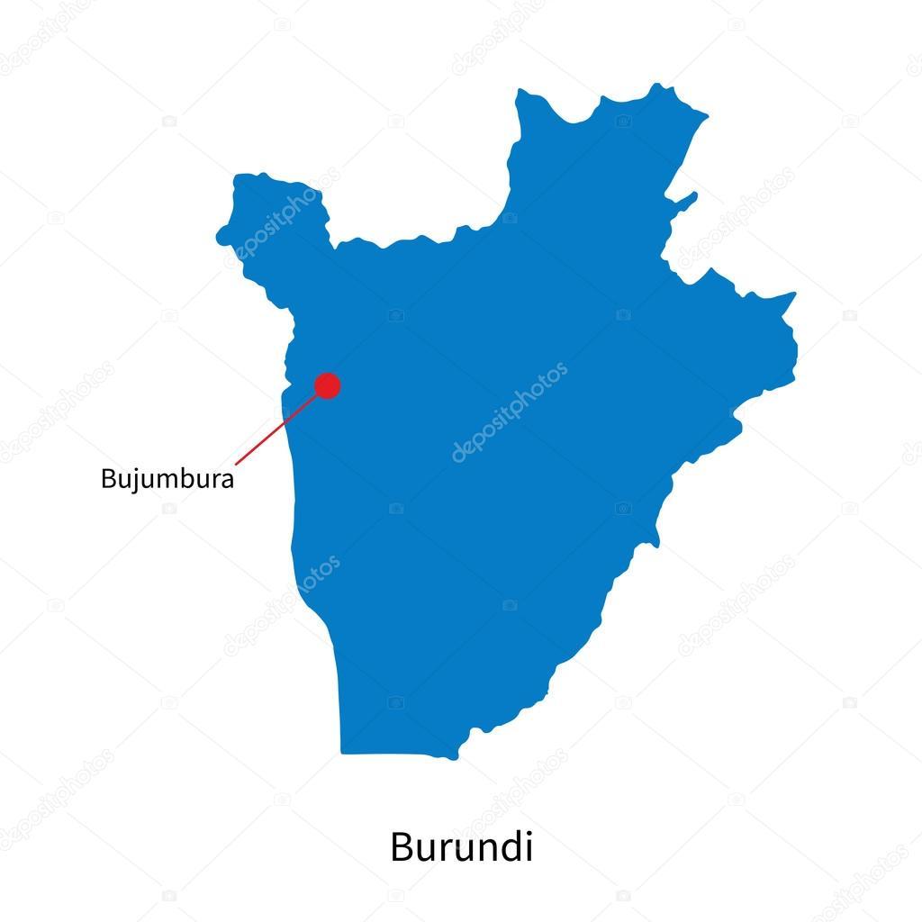 Detailed Vector Map Of Burundi And Capital City Bujumbura Stock - Where is burundi on a world map