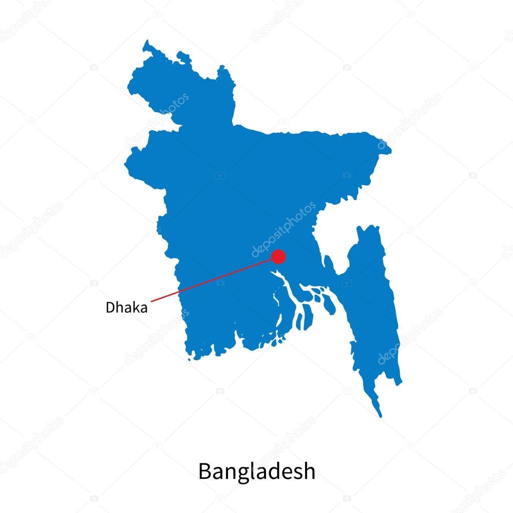 Detailed Vector Map Of Bangladesh And Capital City Dhaka Stock - Bangladesh map download