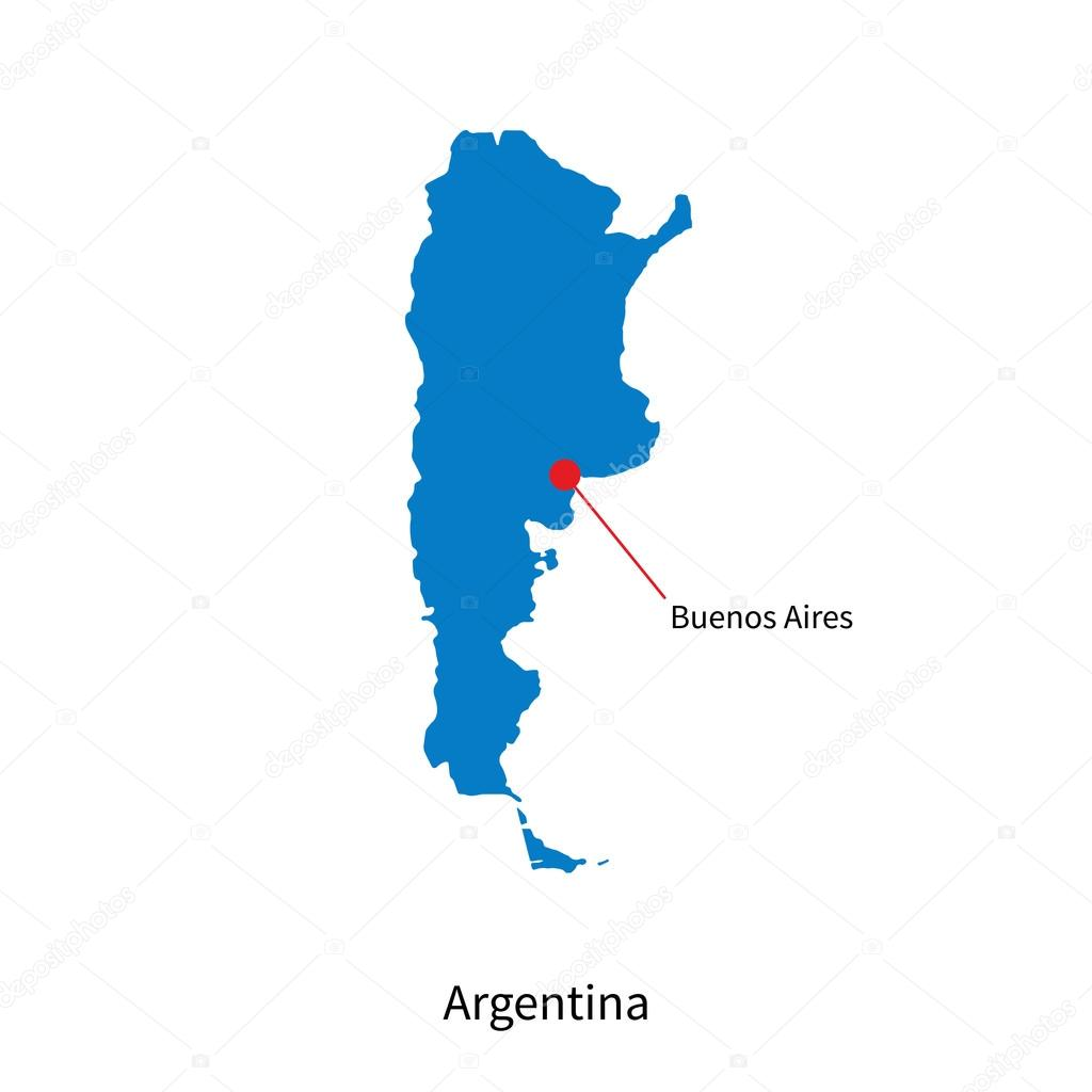 Detailed Vector Map Of Argentina And Capital City Buenos Aires - Argentina map vector