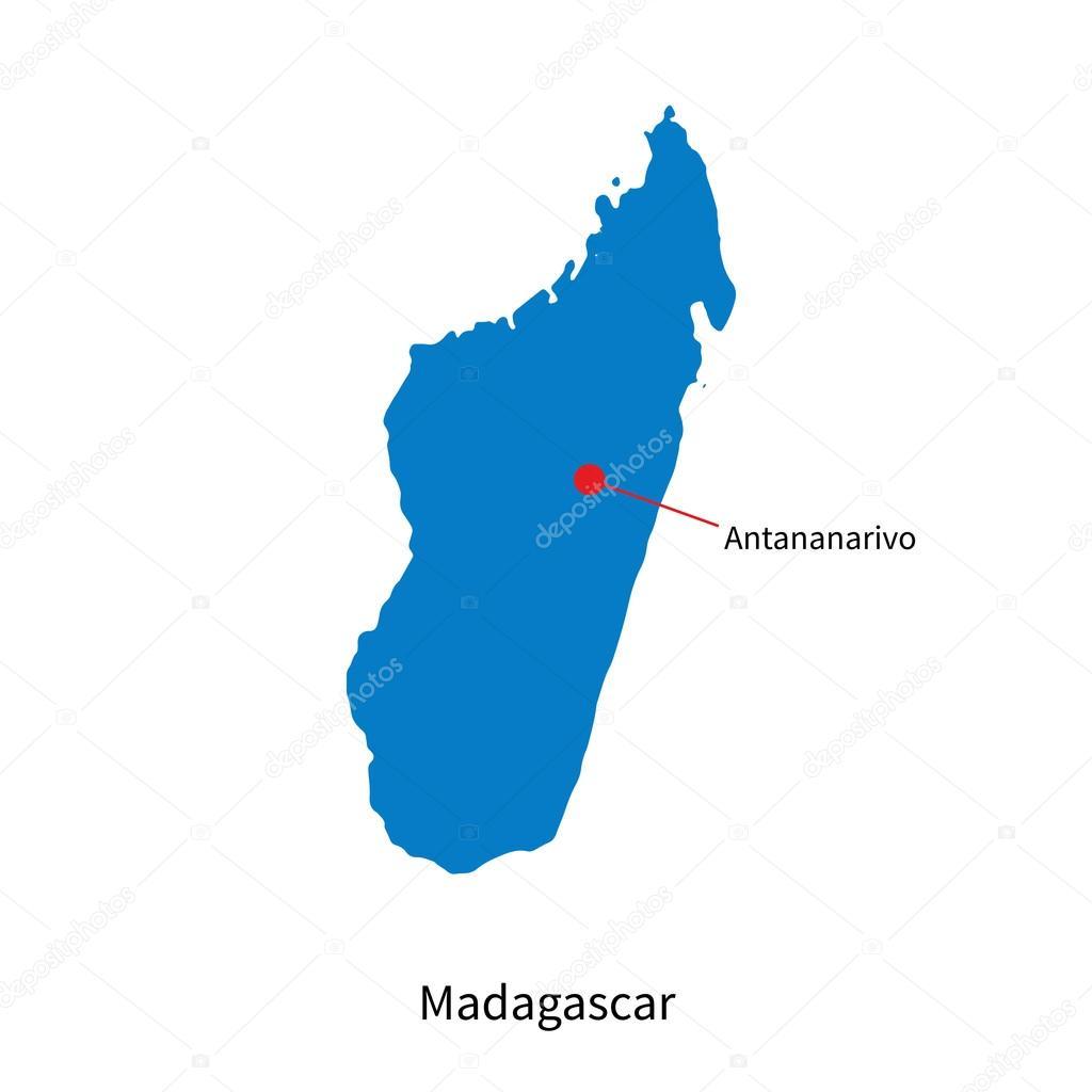 Carte Madagascar Tananarive.Carte Detaillee De Vecteur De Madagascar Et La Capitale