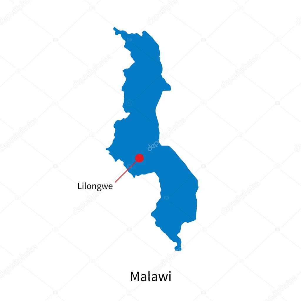 Detailed vector map of Malawi and capital city Lilongwe Stock
