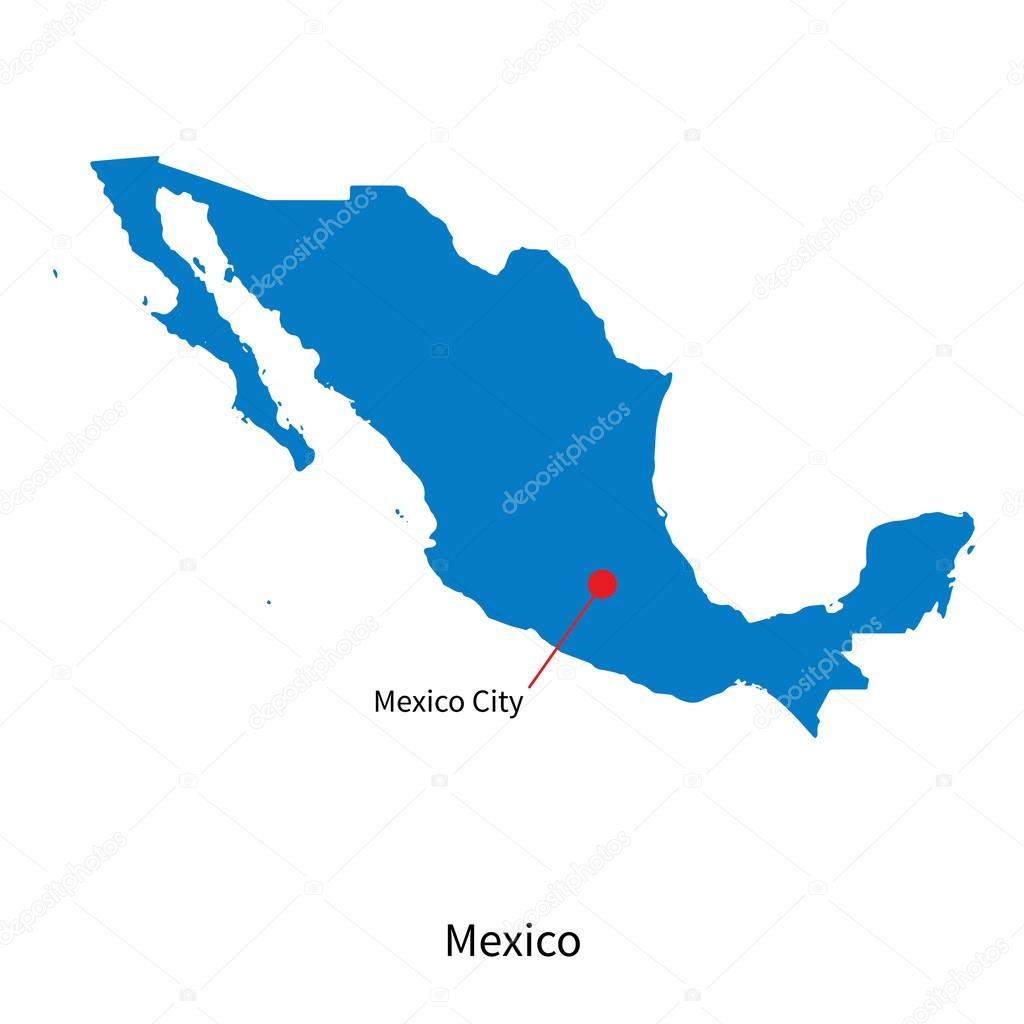 Detailed Vector Map Of Mexico And Capital City Mexico Stock