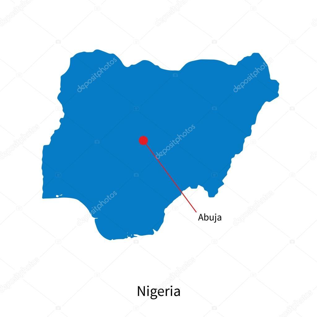 Mappa vettoriale dettagliata della nigeria e capitale for Piani e progetti per la costruzione della nigeria