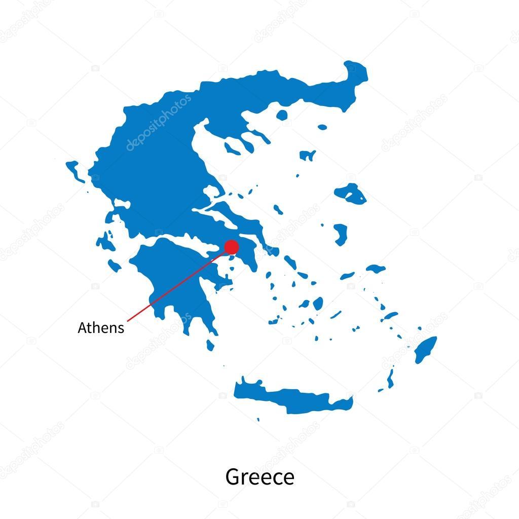 Karta Aten Grekland.Detaljerad Vektor Karta Over Grekland Och Huvudstad Staden Aten