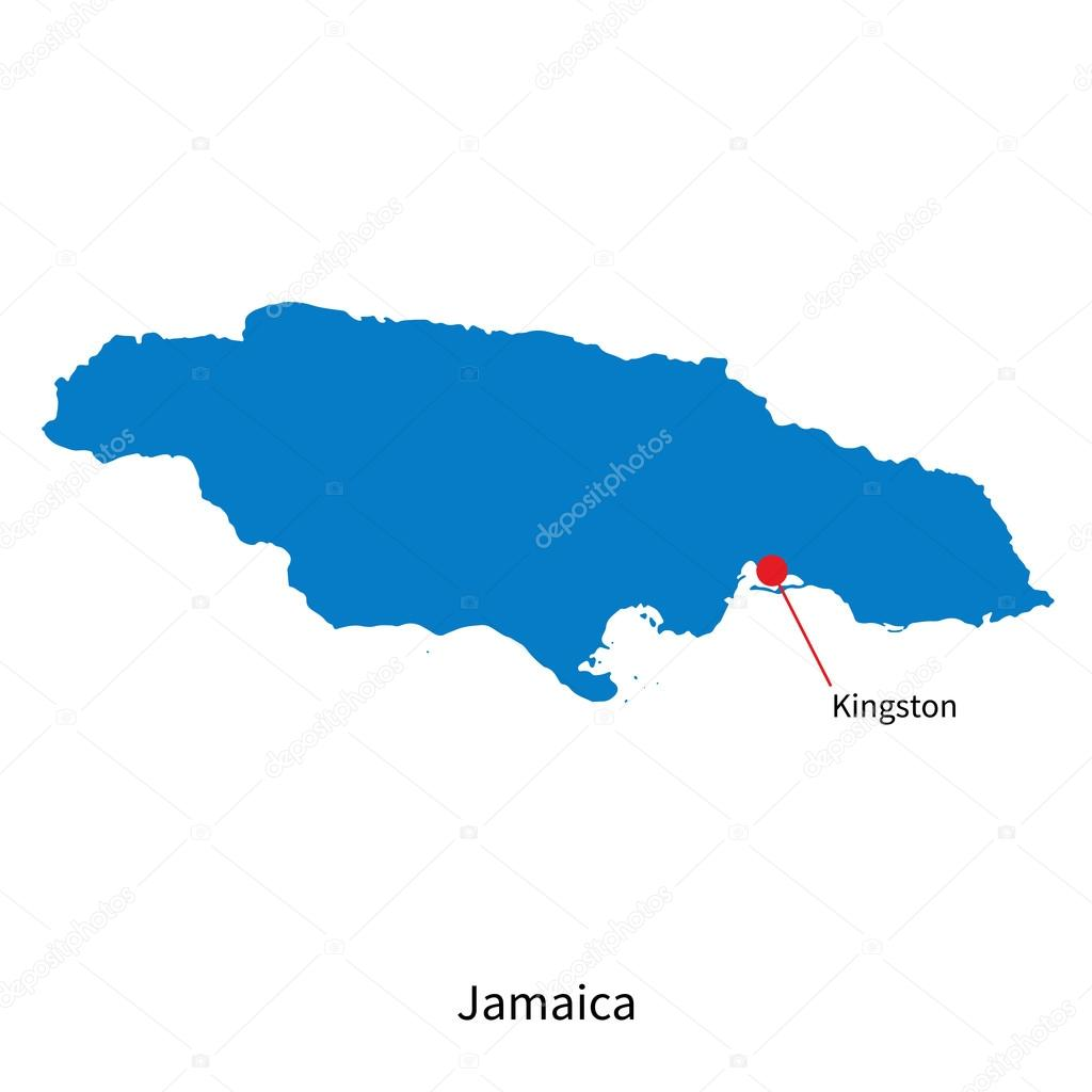 Detailed vector map of jamaica and capital city kingston stock detailed vector map of jamaica and capital city kingston stock vector gumiabroncs Gallery
