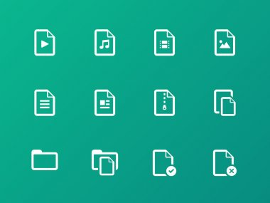 Set of Files icons on green background.