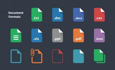 Set of Document File Formats icons.