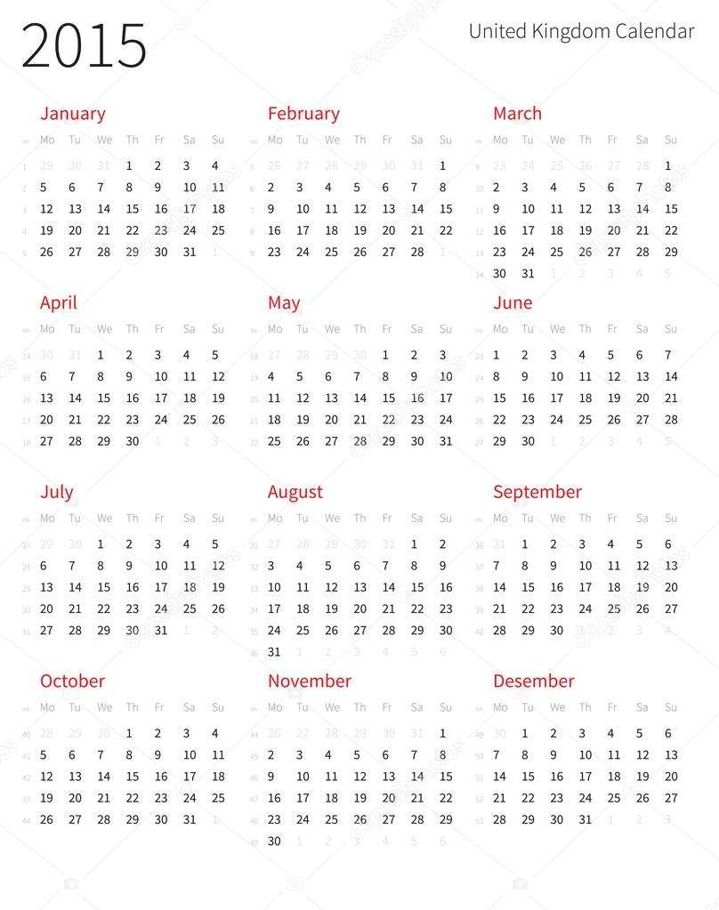 Calendrier De L Annee 2015 Du Royaume Uni Avec Les Numeros De