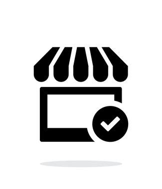 Shop check icon on white background.