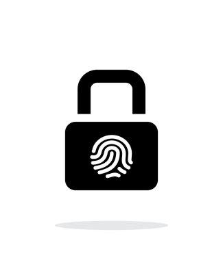 Fingerprint secure lock icon on white background.