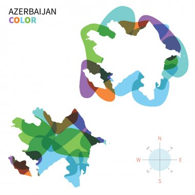 Abstract vector color map of Azerbaijan with transparent paint effect.