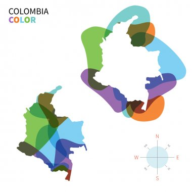 Abstract vector color map of Colombia with transparent paint effect.