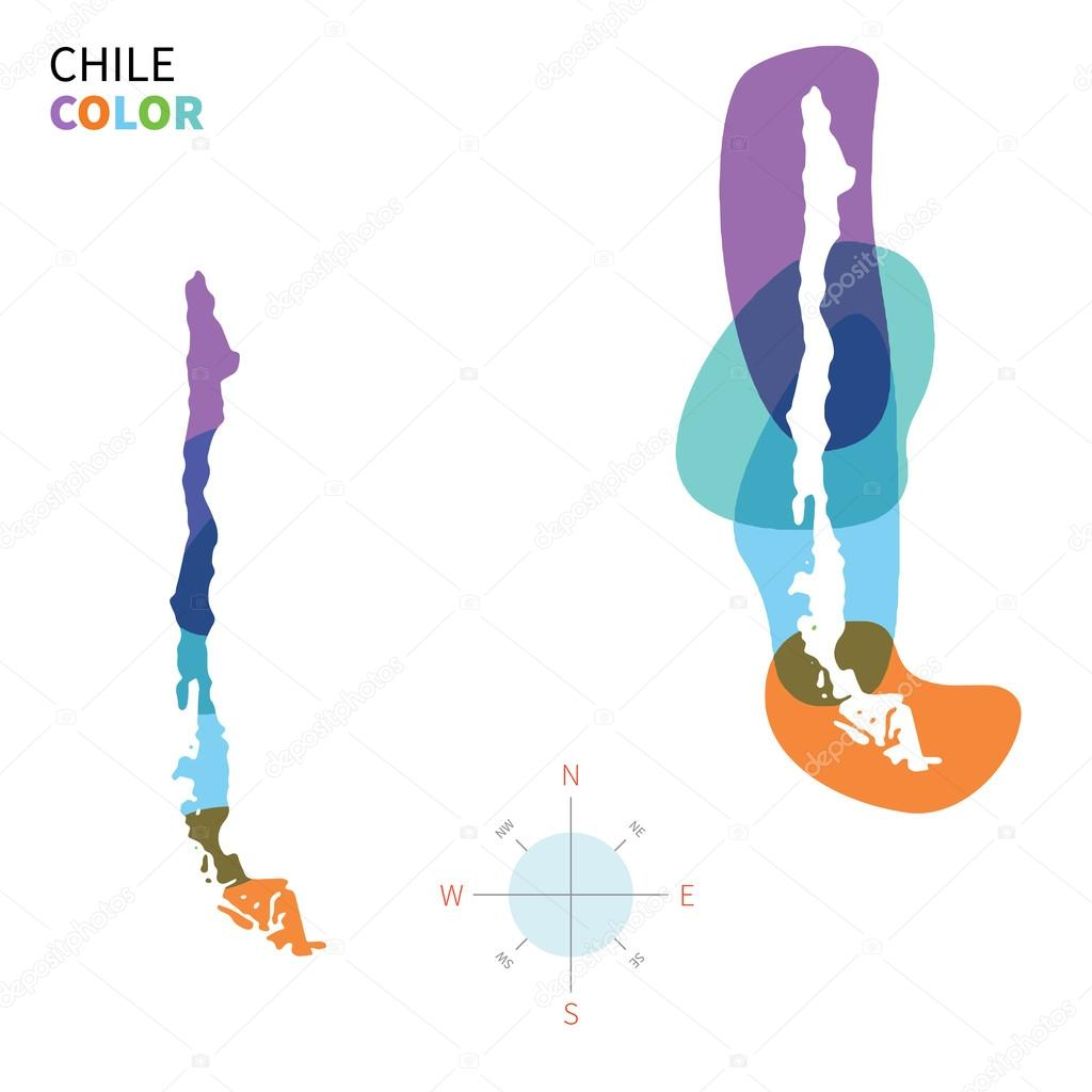Abstract vector color map of Chile with transparent paint effect.