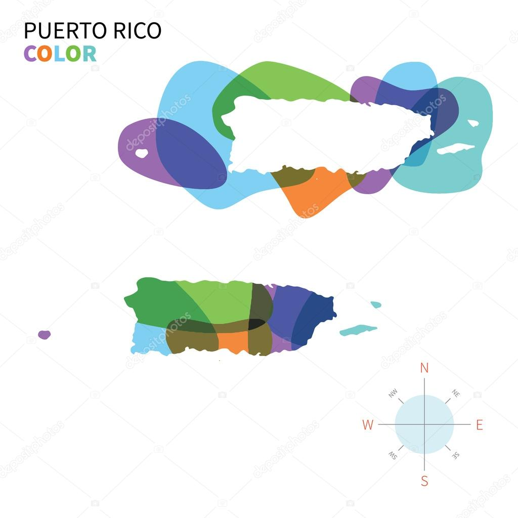 Abstract vector color map of Puerto Rico with transparent paint effect.